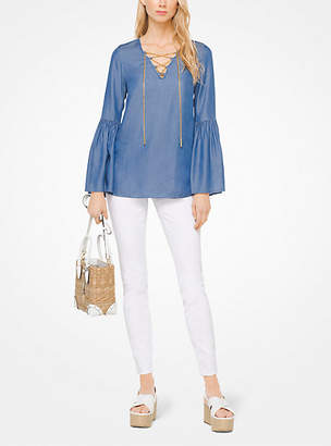 Michael Kors Lace-Up Chambray Tunic