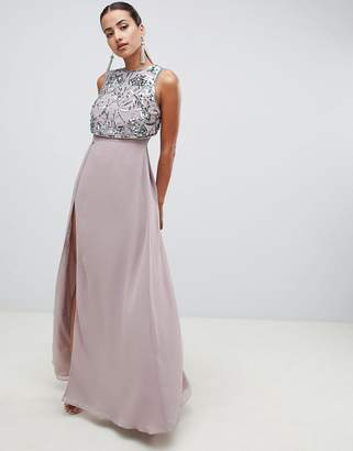 Asos Design DESIGN maxi dress with crop top embellishment