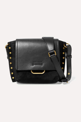 Isabel Marant Kleny Studded Suede And Leather Shoulder Bag - Black