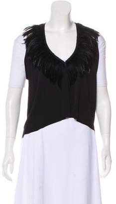 Rozae Nichols Feather-Trimmed Lightweight Vest
