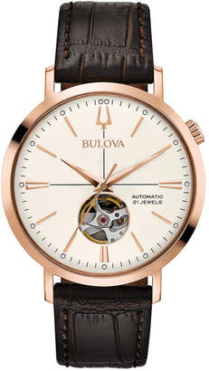 Bulova Men's Automatic Brown Leather Strap Watch 41mm