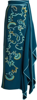 Peter Pilotto Embroidered Asymmetric Crepe Cady Skirt - Womens - Blue Multi