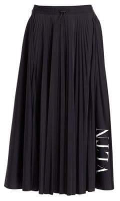 Valentino Wool Plissé Logo Skirt
