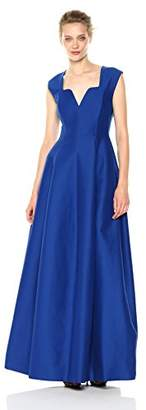 Halston Women's Cap Sleeve Geo Neck Line Structure Gown