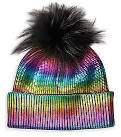 Adrienne Landau Women's Metallic Rainbow Fox Fur Pom Pom Beanie