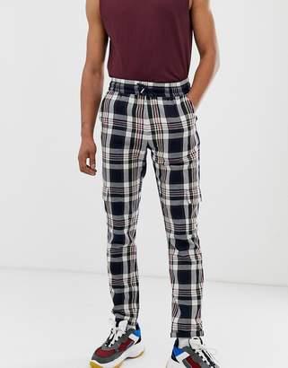 Asos Design DESIGN slim cargo pants with elastic waist in indigo check