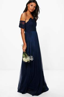 boohoo Boutique Erin Lace Off Shoulder Maxi Dress $70 thestylecure.com