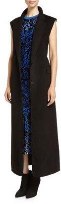 DKNY Long Sleeveless Bonded Wool Jacket, Black $798 thestylecure.com
