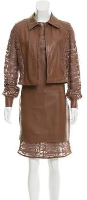 Jitrois Leather-Accented Knee-Length Dress Set