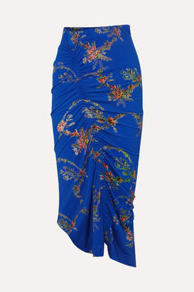 Preen by Thornton Bregazzi Tracy Ruched Floral-print Stretch-crepe Midi Skirt - Blue