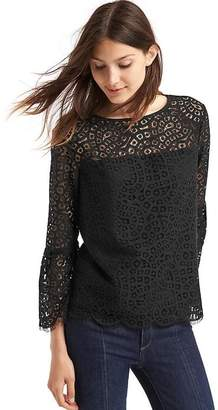 Crochet lace three-quarter bell sleeve top $69.95 thestylecure.com