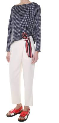 Alberto Biani Contrast-belt Crepe Sormonto Trousers