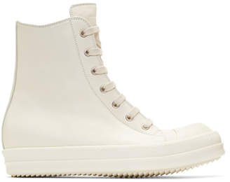 Rick Owens Off-White Leather High-Top Sneakers