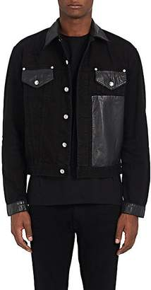 McQ Men's Faux-Leather-Trimmed Denim Jacket - Black