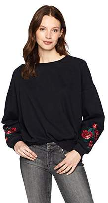Serene Bohemian Women's Loose Fit Sweatshirt with Floral Embroidery on The Sleeve (M)