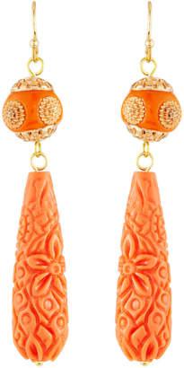 Panacea Carved Resin Drop Earrings, Orange