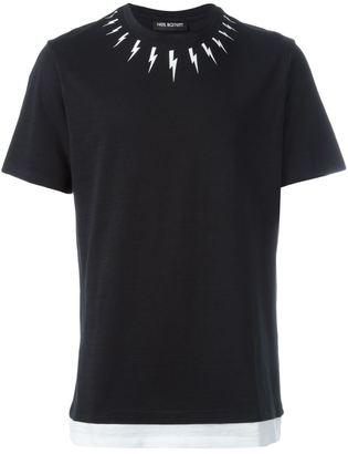 Neil Barrett lightning bolt print T-shirt $191.46 thestylecure.com