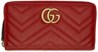Gucci Red GG Marmont Zip Around Wallet