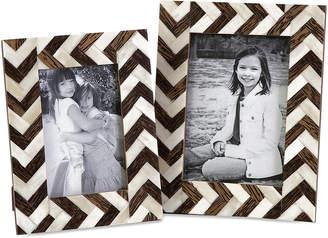 Imax Set Of 2 Zigzag Bone Inlay Frames