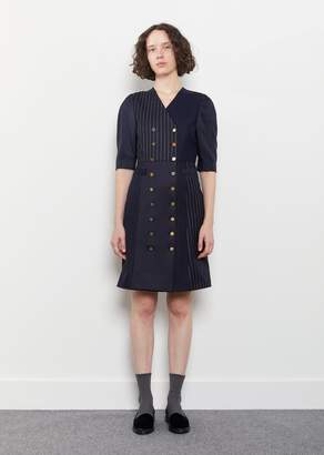 Thom Browne Double Breasted Silk Merino Dress Navy