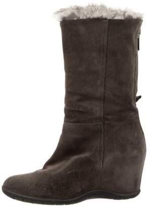 Aquatalia Suede Mid-Calf Wedge Boots Grey Suede Mid-Calf Wedge Boots