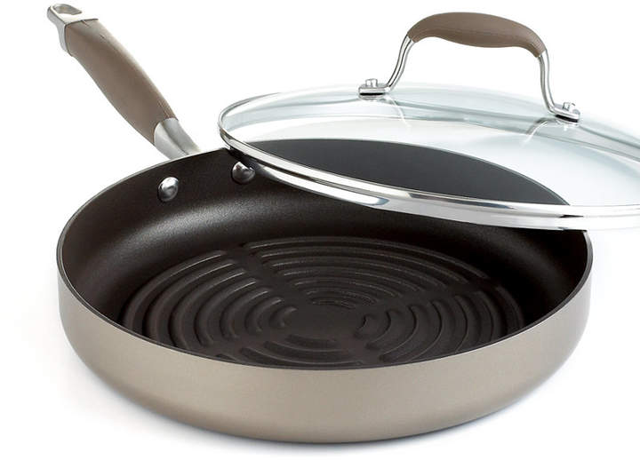 """Anolon Advanced Bronze Nonstick 11"""" Covered Grill Pan"""