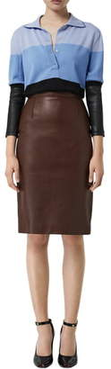 Burberry High Waist Tailored Leather Pencil Skirt