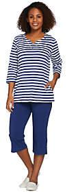 Quacker Factory Striped Grommet 3/4 Slv T-shirt