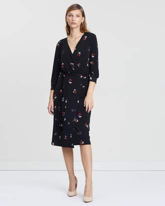 Warehouse Honey Floral Wrap Printed Dress