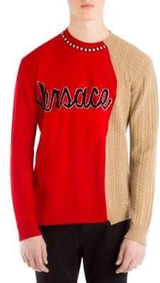 Versace Wool Logo Half-&-Half Knit Sweater
