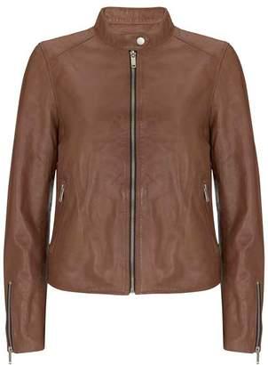 Mint Velvet Tan Leather Bomber Jacket