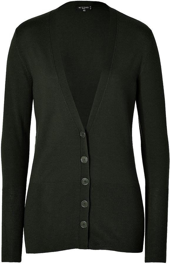 Etro Wool-Cashmere V-Neck Cardigan