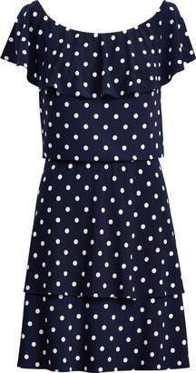 Ralph Lauren Polka-Dot Stretch Jersey Dress