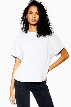 Topshop Womens Petite Boxy Roll T-Shirt - Grey