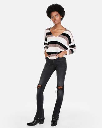 Express Striped Velvet Chenille V-Neck Sweater