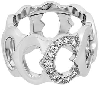 Cartier Estate 18K White Gold C-Diamond Ring Size 6