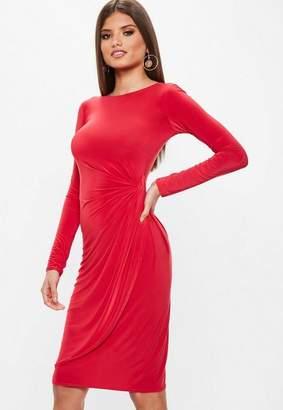 Missguided Red Slinky Twist Front Asymmetric Split Hem Midi Dress