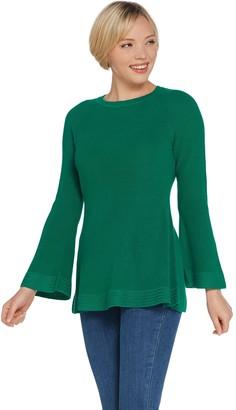 Isaac Mizrahi Live! Crew Neck Peplum Sweater w/ Bell Sleeves