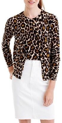 J.Crew Leopard Lightweight Wool Cardigan $98 thestylecure.com