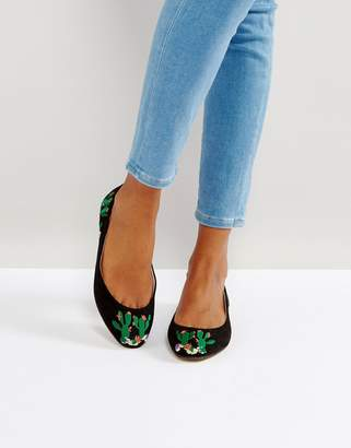 Asos Design LITTLE Cactus Embroidered Ballet Flats