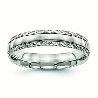 Primal Steel Primal Steel Stainless Steel Polished Grooved Criss Cross Design Ring