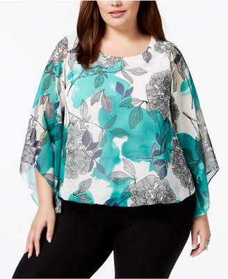 Alfani Plus Size Plus Size Printed Kimono-Sleeve Top, Created for Macy's