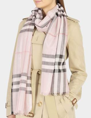 Burberry 215X70 Metallic Gauze Giant Check Scarf in Ash Rose Wool, Mulberry Silk, Lurex and Viscose