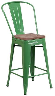 """Flash Furniture 24"""" High Green Metal Counter Height Stool with Back and Wood Seat"""