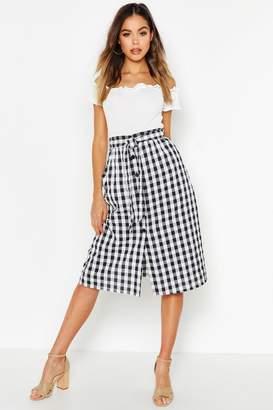 boohoo Gingham Check Button Through Seersucker Midi Skirt
