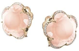 Pasquale Bruni 18K Rose Gold Bon Ton Rose Quartz & Diamond Floral Earrings