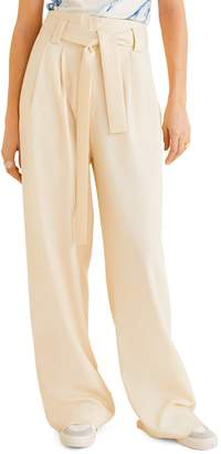 MANGO Paper Belted Straight-Fit Wide-Leg Trousers