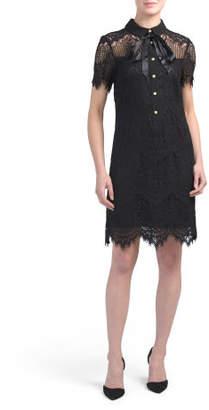 Short Sleeve Lace Shirt Dress