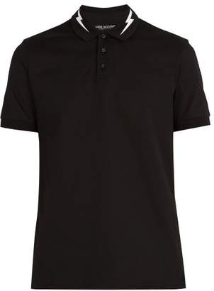 Neil Barrett Lightning Bolt Print Cotton Polo Shirt - Mens - Black White
