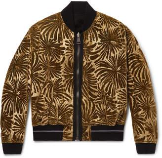 Haider Ackermann Reversible Dévore-Velvet and Cotton-Fleece Bomber Jacket